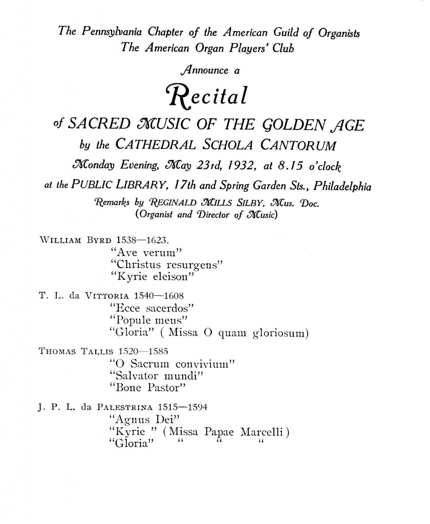 1932 Phil Schola Cantorum