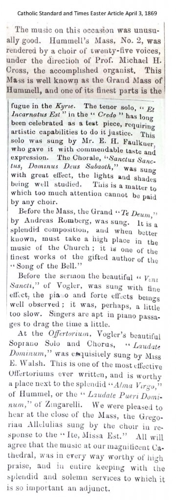 Catholic Standard and Times Easter Article April 3 1869