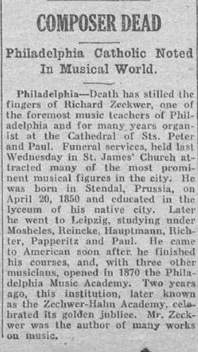 zeckwer death notice georgia catholic newspaper january 10 1923